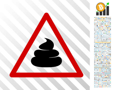 Poops warning pictograph with 700 bonus bitcoin mining and blockchain design elements. Vector illustration style is flat iconic symbols designed for bitcoin websites.