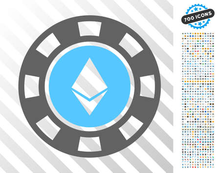 Ethereum Casino Chip pictograph with 7 hundred bonus bitcoin mining and blockchain clip art. Vector illustration style is flat iconic symbols designed for crypto currency software.