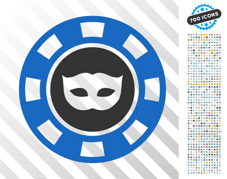 Anonymous Casino Chip pictograph with 700 bonus bitcoin mining and blockchain graphic icons. Vector illustration style is flat iconic symbols designed for cryptocurrency software.