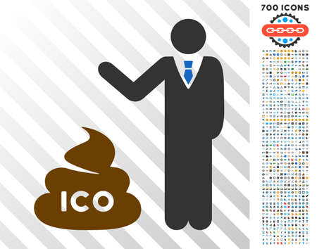 Businessman Show Ico Shit pictograph with 7 hundred bonus bitcoin mining and blockchain icons. Vector illustration style is flat iconic symbols designed for bitcoin apps.