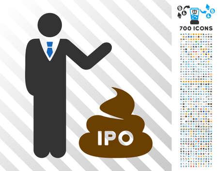 사업가 700 보너스 bitcoin 마이닝 및 blockchain 디자인 요소와 아이콘 Ipo 똥 아이콘을 표시합니다. 벡터 일러스트 레이 션 스타일은 플랫 아이코닉 기호 비