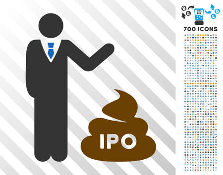 Businessman Show Ipo Shit icon with 700 bonus bitcoin mining and blockchain design elements. Vector illustration style is flat iconic symbols designed for bitcoin apps.