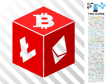 Cryptocurrency Dice pictograph with 7 hundred bonus bitcoin mining and blockchain pictures. Vector illustration style is flat iconic symbols designed for cryptocurrency websites.