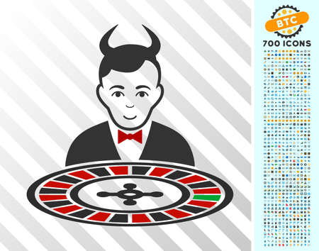 Devil Roulette Croupier icon with 7 hundred bonus bitcoin mining and blockchain clip art. Vector illustration style is flat iconic symbols designed for cryptocurrency software. Illustration
