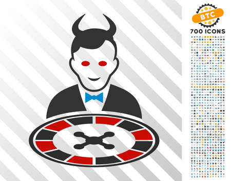 Devil Roulette Dealer icon with 7 hundred bonus bitcoin mining and blockchain graphic icons. Vector illustration style is flat iconic symbols designed for crypto-currency websites.