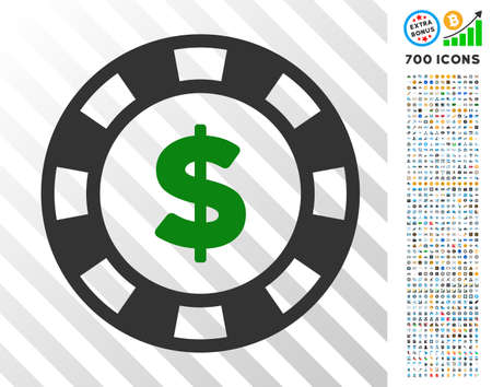 Dollar Casino Chip pictograph with 7 hundred bonus bitcoin mining and blockchain icons. Vector illustration style is flat iconic symbols designed for blockchain software.
