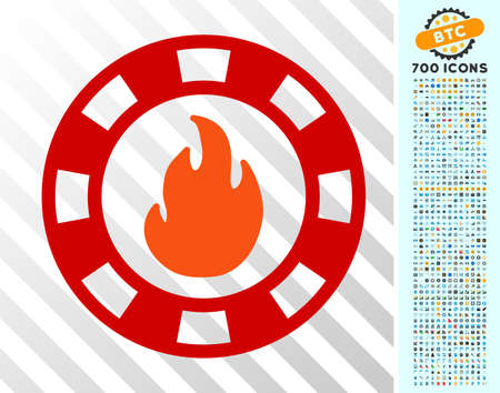Fire Casino Chip pictograph with 700 bonus bitcoin mining and blockchain pictograms. Vector illustration style is flat iconic symbols designed for crypto currency websites. Illustration