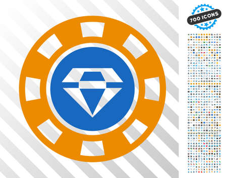 Gem Casino Chip pictograph with 700 bonus bitcoin mining and blockchain clip art. Vector illustration style is flat iconic symbols designed for crypto currency software.