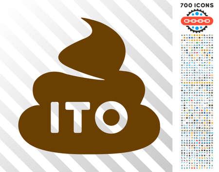 Ito Shit icon with 700 bonus bitcoin mining and blockchain design elements. Vector illustration style is flat iconic symbols designed for blockchain websites.