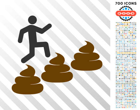 Person Climbing Shit Levels pictograph with 7 hundred bonus bitcoin mining and blockchain pictograms. Vector illustration style is flat iconic symbols designed for bitcoin software. Illustration