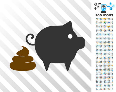Pig Shit pictograph with 700 bonus bitcoin mining and blockchain pictographs. Vector illustration style is flat iconic symbols designed for crypto-currency websites. Illustration