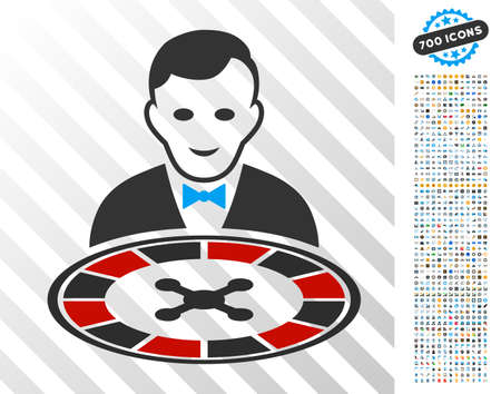 Roulette Dealer icon with 7 hundred bonus bitcoin mining and blockchain pictograms. Vector illustration style is flat iconic symbols designed for crypto-currency apps. Illustration
