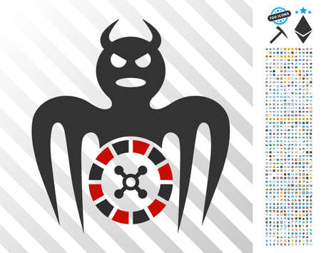 Roulette Spectre Devil pictograph with 700 bonus bitcoin mining and blockchain graphic icons. Vector illustration style is flat iconic symbols designed for bitcoin websites. Illustration