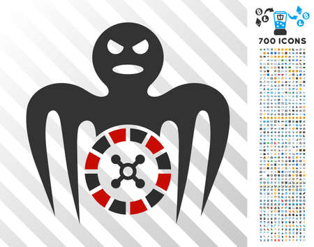 Roulette Spectre Monster icon with 7 hundred bonus bitcoin mining and blockchain symbols. Vector illustration style is flat iconic symbols designed for cryptocurrency apps.