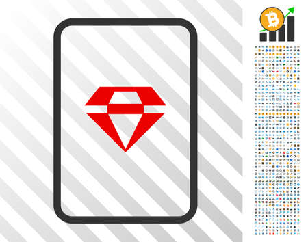 Ruby Gambling Card pictograph with 700 bonus bitcoin mining and blockchain pictographs. Vector illustration style is flat iconic symbols designed for crypto currency websites.