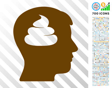 Shit Brains Head icon with 700 bonus bitcoin mining and blockchain icons. Vector illustration style is flat iconic symbols designed for bitcoin websites. Illustration