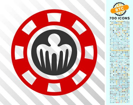 Spectre Casino Chip pictograph with 700 bonus bitcoin mining and blockchain design elements. Vector illustration style is flat iconic symbols designed for crypto-currency apps.