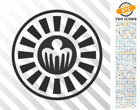 Spectre Casino Roulette pictograph with 7 hundred bonus bitcoin mining and blockchain pictographs. Vector illustration style is flat iconic symbols designed for bitcoin websites.