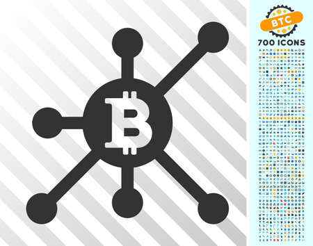 Bitcoin Full Node pictograph with 700 bonus bitcoin mining and blockchain clip art. Vector illustration style is flat iconic symbols designed for cryptocurrency websites.