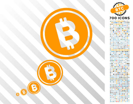 Bitcoin Inflation icon with 7 hundred bonus bitcoin mining and blockchain graphic icons. Vector illustration style is flat iconic symbols designed for cryptocurrency websites.