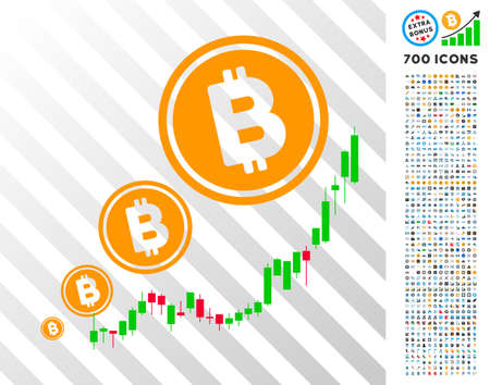 Bitcoin Inflation Chart icon with 7 hundred bonus bitcoin mining and blockchain design elements. Vector illustration style is flat iconic symbols designed for cryptocurrency websites.