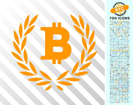 Bitcoin Laurel Wreath pictograph with 700 bonus bitcoin mining and blockchain clip art. Vector illustration style is flat iconic symbols designed for blockchain software.
