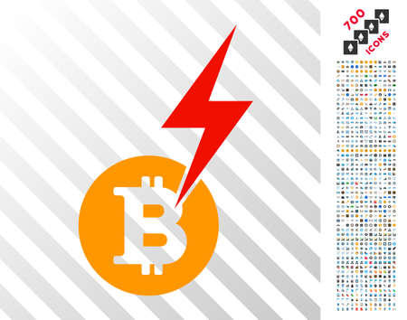 Bitcoin Lightning Strike pictograph with 7 hundred bonus bitcoin mining and blockchain pictographs. Vector illustration style is flat iconic symbols designed for bitcoin software.