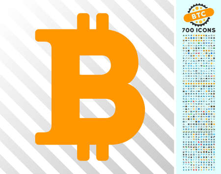 Bitcoin Symbol pictograph with 700 bonus bitcoin mining and blockchain graphic icons. Vector illustration style is flat iconic symbols designed for bitcoin software.