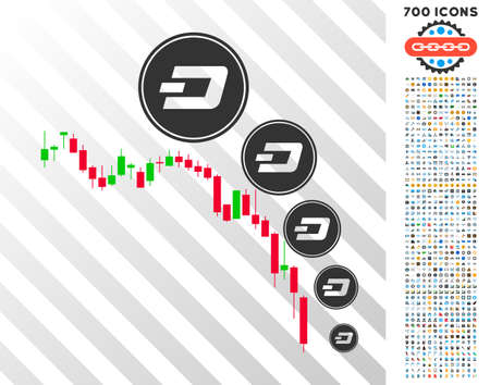 Candlestick Chart Dashcoin Deflation pictograph with 7 hundred bonus bitcoin mining and blockchain clip art. Vector illustration style is flat iconic symbols designed for crypto currency websites.