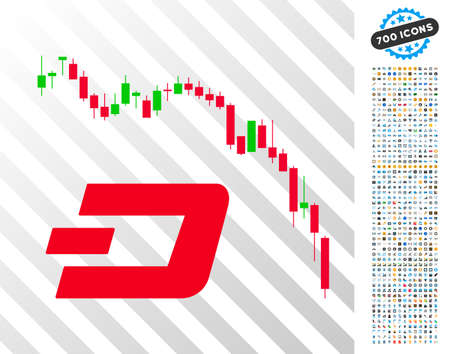 Dashcoin Fall Chart pictograph with 700 bonus bitcoin mining and blockchain icons. Vector illustration style is flat iconic symbols designed for crypto-currency websites.