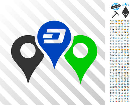 Dashcoin Map Markers icon with 7 hundred bonus bitcoin mining and blockchain pictures. Vector illustration style is flat iconic symbols designed for crypto-currency websites.