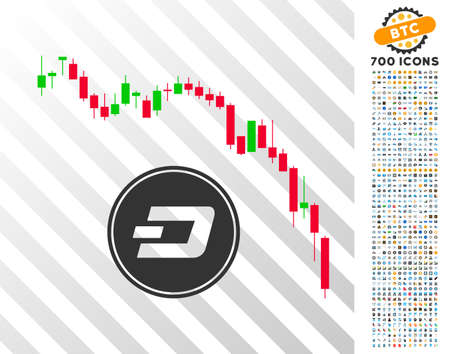 Dashcoin Panic Fall Chart pictograph with 700 bonus bitcoin mining and blockchain pictures. Vector illustration style is flat iconic symbols designed for crypto currency websites.