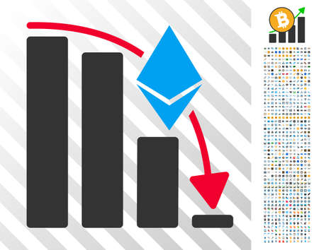 Ethereum Falling Acceleration Chart pictograph with 700 bonus bitcoin mining and blockchain images. Vector illustration style is flat iconic symbols designed for crypto currency websites.