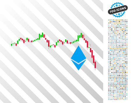 Ethereum Falling Chart pictograph with 700 bonus bitcoin mining and blockchain pictures. Vector illustration style is flat iconic symbols designed for crypto currency software. Illustration