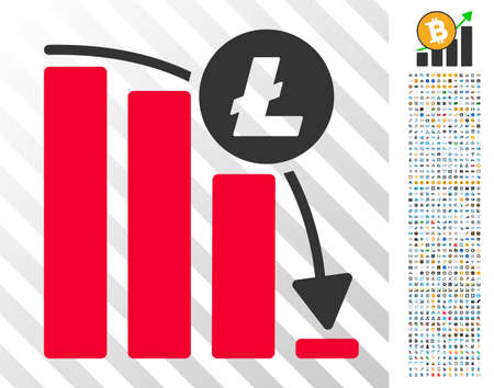 Litecoin Epic Fail Graph icon with 700 bonus bitcoin mining and blockchain graphic icons. Vector illustration style is flat iconic symbols designed for crypto currency software.