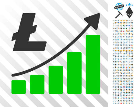 Litecoin Growth Trend pictograph with 7 hundred bonus bitcoin mining and blockchain icons. Vector illustration style is flat iconic symbols designed for blockchain software.