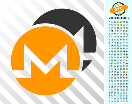 Monero Coins icon with 700 bonus bitcoin mining and blockchain graphic icons. Vector illustration style is flat iconic symbols designed for bitcoin apps.