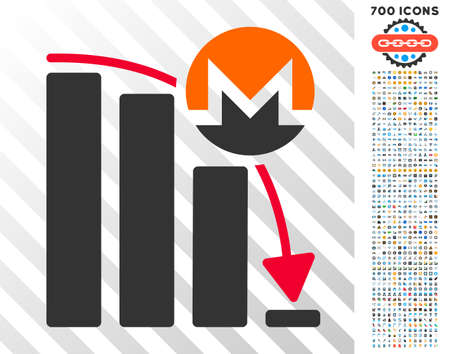 Monero Falling Acceleration Chart pictograph with 700 bonus bitcoin mining and blockchain pictographs. Vector illustration style is flat iconic symbols designed for crypto-currency apps. Illustration