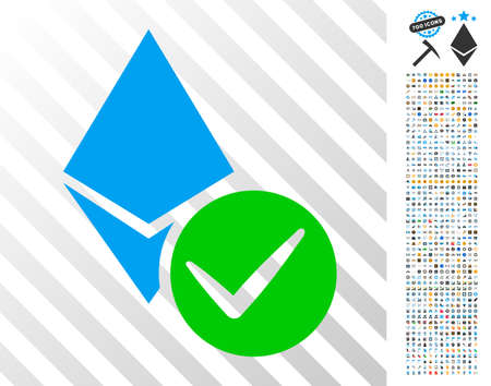 Valid Ethereum Crystal icon with 700 bonus bitcoin mining and blockchain pictures. Vector illustration style is flat iconic symbols designed for bitcoin websites. Ilustrace