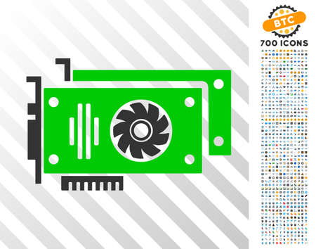 Video Cards pictograph with 7 hundred bonus bitcoin mining and blockchain symbols. Vector illustration style is flat iconic symbols designed for crypto-currency websites. Illustration