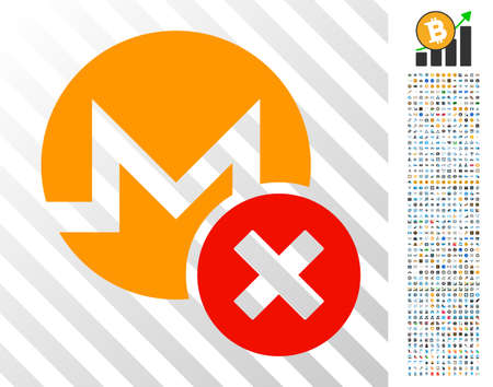 Wrong Monero pictograph with 700 bonus bitcoin mining and blockchain pictograms. Vector illustration style is flat iconic symbols designed for cryptocurrency websites.
