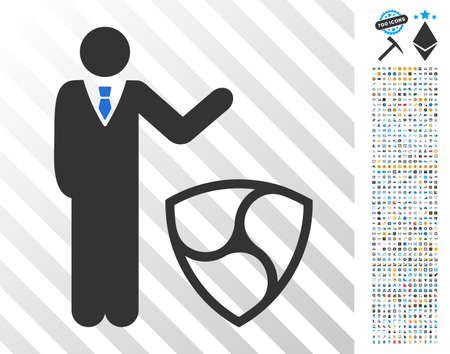 Businessman Show Nem pictograph with 700 bonus bitcoin mining and blockchain pictographs. Vector illustration style is flat iconic symbols designed for crypto-currency apps.