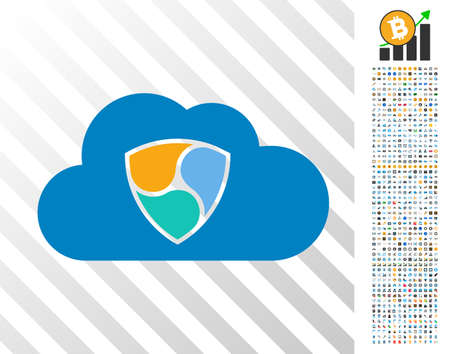 Nem Cloud icon with 7 hundred bonus bitcoin mining and blockchain icons. Vector illustration style is flat iconic symbols designed for crypto-currency software.
