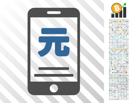 Yuan Mobile Payment pictograph with 7 hundred bonus bitcoin mining and blockchain symbols. Vector illustration style is flat iconic symbols designed for cryptocurrency apps.