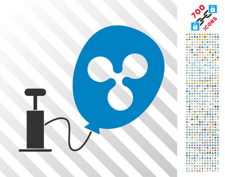 Pump Ripple Balloon pictograph with 7 hundred bonus bitcoin mining and blockchain pictographs. Vector illustration style is flat iconic symbols designed for crypto-currency apps. Illustration