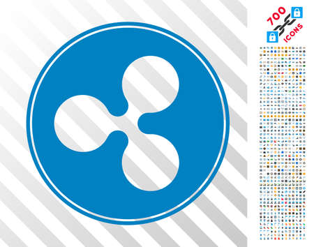 Ripple Coin pictograph with 7 hundred bonus bitcoin mining and blockchain symbols. Vector illustration style is flat iconic symbols designed for cryptocurrency software.