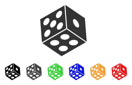 Dice icon. Vector illustration style is a flat iconic dice symbol with grey, yellow, green, blue, red, black color versions. Designed for web and software interfaces.