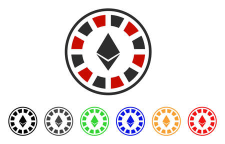 Ethereum Casino Roulette icon. Vector illustration style is a flat iconic ethereum casino roulette symbol with gray, yellow, green, blue, red, black color versions.