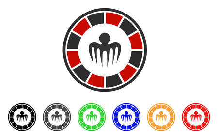 Spectre Casino icon. Vector illustration style is a flat iconic spectre casino symbol with grey, yellow, green, blue, red, black color versions. Designed for web and software interfaces.