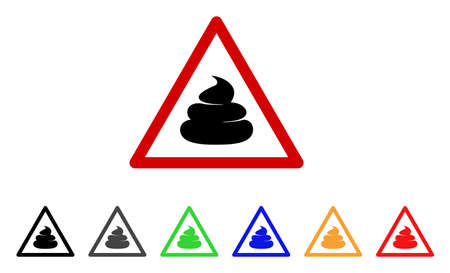 Poop Warning icon. Vector illustration style is a flat iconic Poop warning symbol with grey, yellow, green, blue, red, black color versions. Designed for web and software interfaces. Illustration